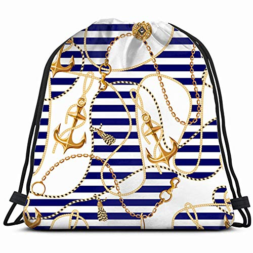 - Multi-color large capacity sports storage backpack seamless pattern gold anchor coins chains backgrounds textures nature Yoga fitness trip 14x16 in