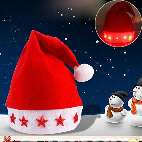 (Outsta Glowing Christmas Hat Luminous Led Red Flashing Star Santa Hat for Adult Merry Christmas)