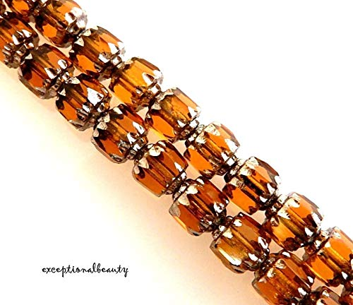 50 Preciosa Czech Glass Gold Topaz Silver 6mm Faceted Cathedral Rosary Beads