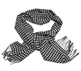 Cashmere Touch Warm and Soft Scarf Black & White Houndstooth Classic Design With Fringe