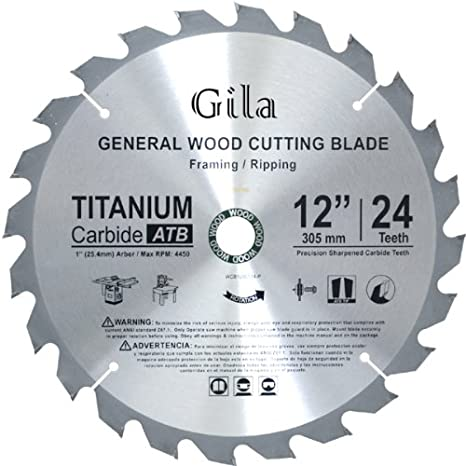 GilaTools 12-inch 24 Teeth ATB Framing Carbide Saw Blade - Circular ...