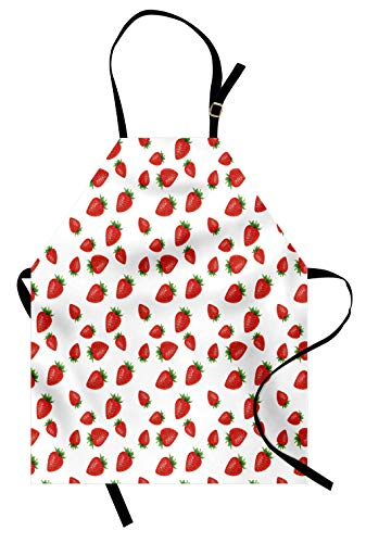 Lunarable Spring Apron, Cartoon Style Strawberries on White Background Fresh Fruit Pattern Image, Unisex Kitchen Bib with Adjustable Neck for Cooking Gardening, Adult Size, White Red]()