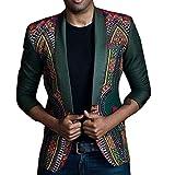 Men's African Print Dashiki Cardigan Jacket Long Sleeve Shirts for men (USS/TagXL, Green)
