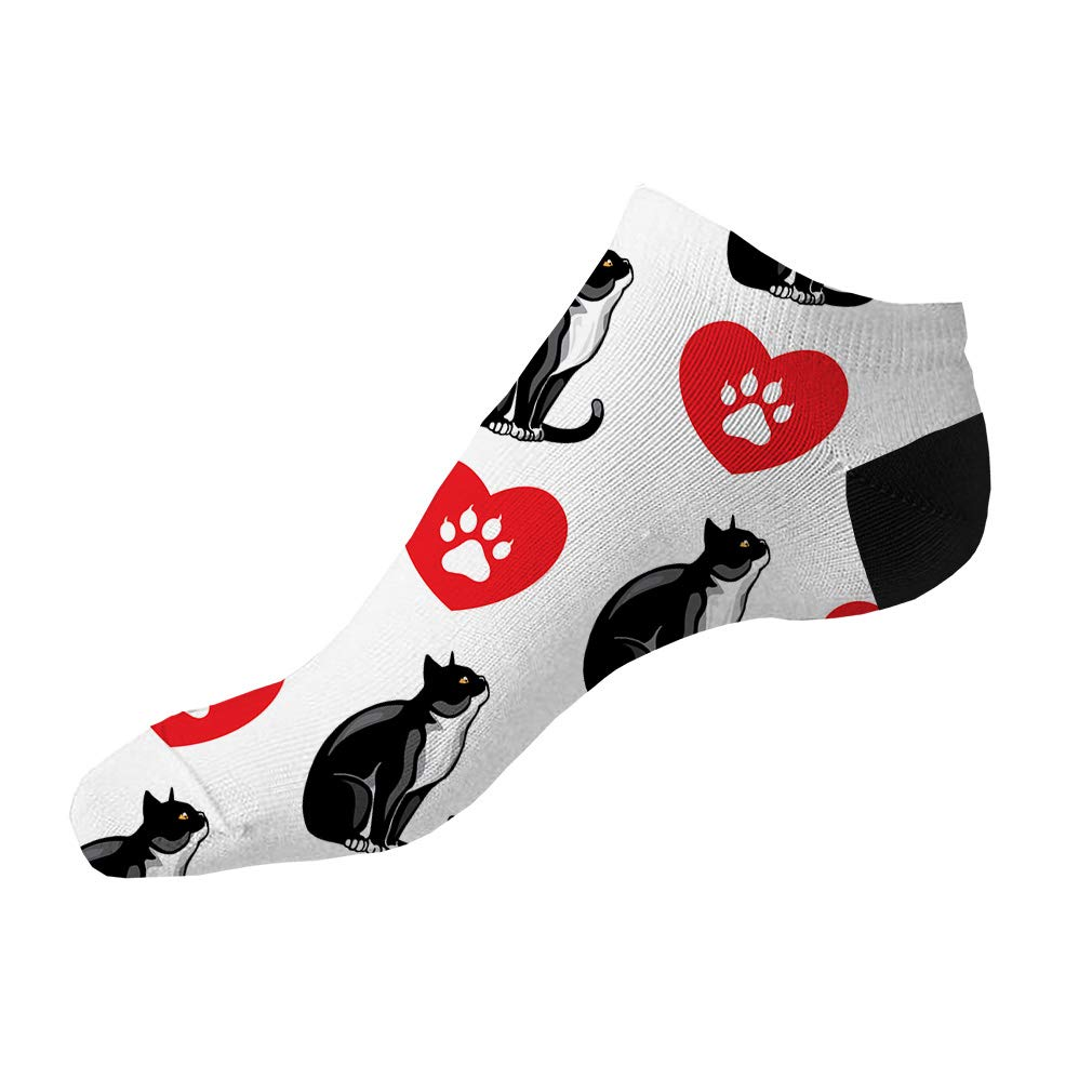 Tuxedo Cat Heart Paws Pattern #2 Men-Women Adult Ankle Socks Novelty Socks