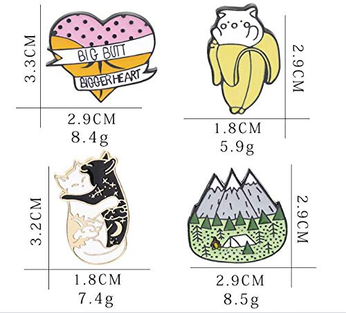 Black and White cat Licking Brooch Forest Banana cat pin (3) by Angelstore Brooch (Image #7)