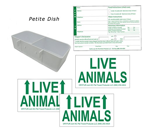 Kennel Travel Kit for Pets – Hook-On Dish & Live Animal Labels (Petite)
