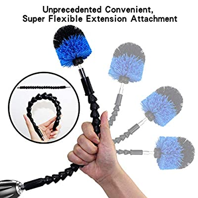 Drill Brush Power Scrubber Cleaning Kit, 9 Pack Cleaner Scrubbing Brushes Attachments for Bathroom Surface, Carpet, Grout, Tile, Tub, Shower, Kitchen, Auto, Boat Fiberglass (Blue)