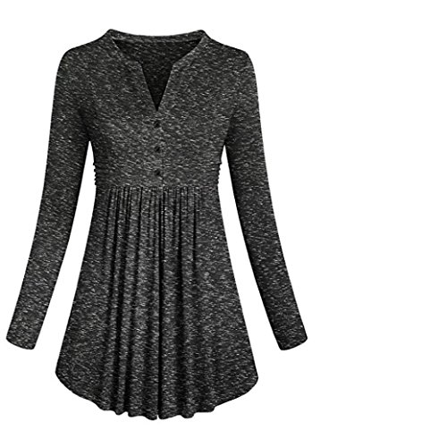 Hem Empire Dress (MOONHOUSE Women's Long Sleeve Mandarin Collar Shirt Pleated Button Flare Hem Tunic Tops (Black))