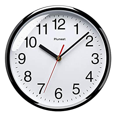 """Plumeet Silent Wall Clock - 10"""" Non Ticking Quartz Black Wall Clocks - Simple Design Decorative Home Office School Clock - Non Ticking -- Precise quartz movements to guarantee accurate time, quiet sweep second hand ensure a good sleeping and work environment. Easy to Read -- Silent wall clocks with traditional numbers are clear to read, front glass cover guarantees perfect view. Concise Style -- Simple and elegant modern style can meet your all decorative need for home/school /office. - wall-clocks, living-room-decor, living-room - 51E6d78Ie9L. SS400  -"""