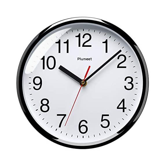 """Plumeet Silent Wall Clock - 10"""" Non Ticking Quartz Black Wall Clocks - Simple Design Wall Clocks for Living Room Decor - Battery Operated (White Face) - Non Ticking -- Precise quartz movements to guarantee accurate time, quiet sweep second hand ensure a good sleeping and work environment. Easy to Read -- Silent wall clocks with traditional numbers are clear to read, front glass cover guarantees perfect view. Concise Style -- Simple and elegant modern style can meet your all decorative need for home/school /office. - wall-clocks, living-room-decor, living-room - 51E6d78Ie9L. SS570  -"""