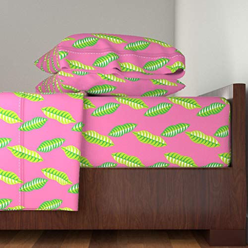 Modern Mangosteen 4pc Sheet Set Pink Summer Tropical Botanical Mangosteen Leaf Leaves Pink Green Nature Tropical Summer by Nekineko 100% Cotton Sateen King Sheet Set