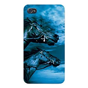 Apple Iphone Custom Case 5 5s Snap on - Two Horses Running w/ Sky Background
