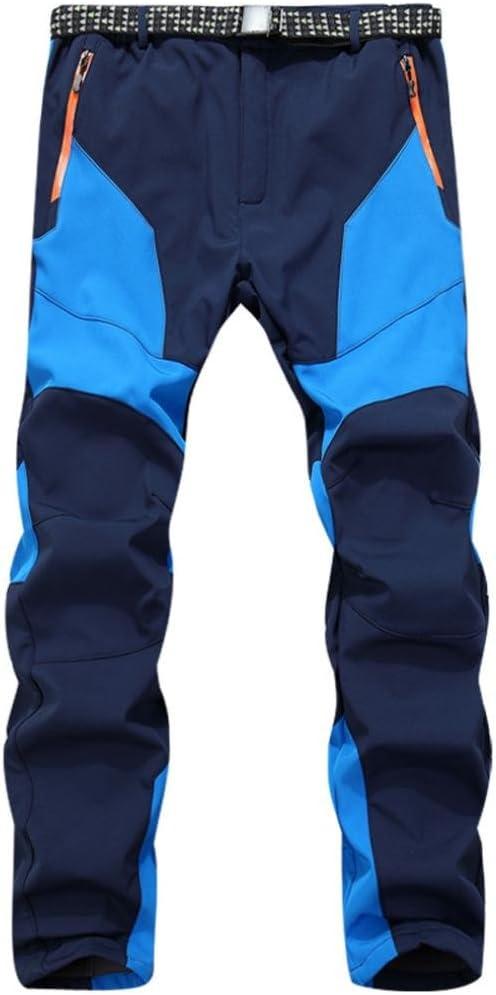 Pantalones de hombre Impermeable A prueba de viento Al aire libre Excursionismo Alpinismo Deportes Calentar Invierno Grueso Táctico Pantalones LMMVP (L, Azul)