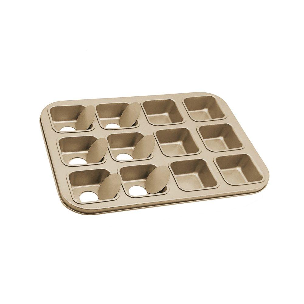 HOMOW Non-Stick Bakeware Brownie Bar Baking Pan, Mini Cheesecake Pan Cupcake Pan with Removable Bottom, Square Cake Pan,12-Cavity (13.8 x 10.4 x 1.4)