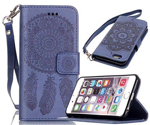 iPhone 6/6S Case, Welity Vintage Dream Catcher PU Synthetic Leather Wristlet Magnet Snap Wallet [Credit Card/Cash Slots] Kickstand Flip Case Cover for Apple iPhone 6/6S, Navy