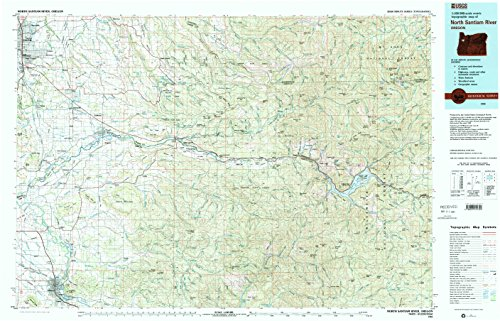 North Santiam River OR topo map, 1:100000 scale, 30 X 60 Minute, Historical, 1983, updated 1984, 24.1 x 37.6 IN - - Oaks Ford River