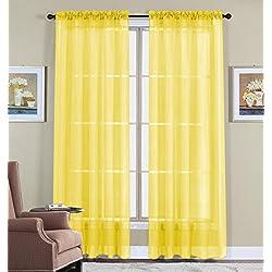 "WPM 2 Piece Beautiful Sheer Window Elegance Curtains/drape/panels/treatment 60""w X 84""l (Bright Yellow)"