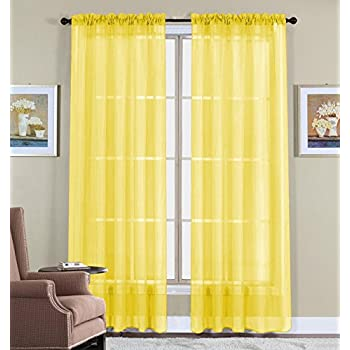 Perfect WPM 60 X 63 Inches Sheer Window Elegance Curtains/drape/panels/treatment,  Yellow