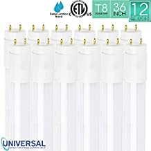 Luxrite 16W 36 Inch T8 LED Tube Light, 5000K Bright White, 25W Equivalent, Universal Direct or Bypass, CRI83+, Shatter Resistant, 1600 Lumenss, Damp Rated, ETL Listed, G13 Base, 12-Pack