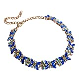 Luxury Choker Necklace for Women Costume Jewlery Gold Blue Crystal Chunky Chain Collar Wedding Formal Daily 1pc Blue with Gift Box - N37 Blue