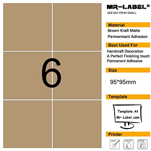 Mr-Label® Large Size Blank Kraft Labels –Self Adhesive Stickers for Gift Decoration|Hand craft|Wine bottle (Size:95*95mm)