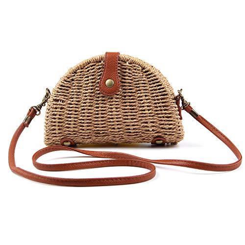 (Ynport Women Straw Handbag Manmade Artificial Woven Bag Straw Woven Satchel Beach Travel Cross-body Bag)
