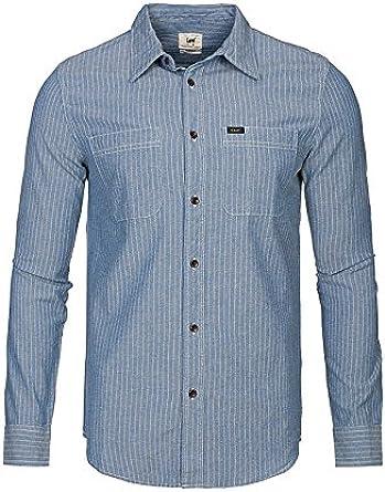 Lee - Camisa de Chambray, regular fit, bolsillos frontales y botones a contraste