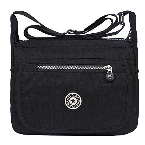 Handbag Resistant Shoulder Nylon EGOGO Body Messenger E303 Bag Black Cross Water Casual Bag 6 IgwUq4x