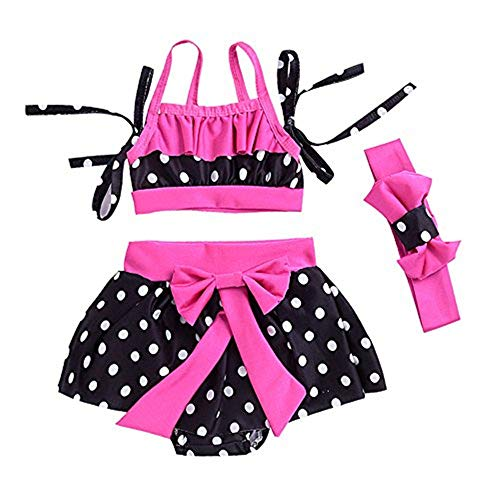 Mikrdoo Baby Girl Swimwear Outfit Sets Polka Dot Bikini Bathing Suit Belt Top +Mini Dress+Headband (0-6 Months, A) - Newborn Two Piece Outfit