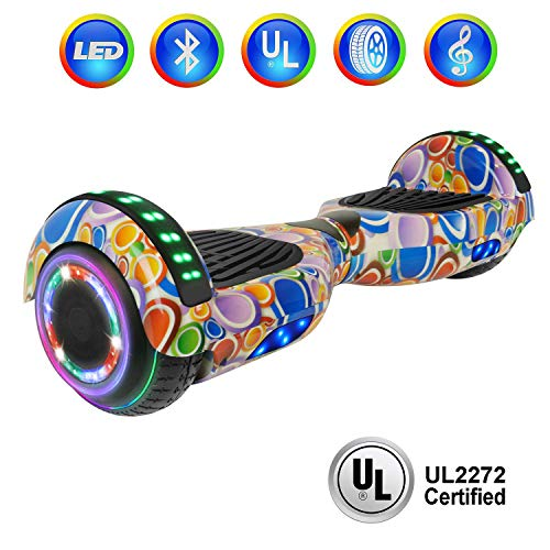 "NHT 6.5"" Hoverboard Electric Self Balancing Scooter Sidelights - UL2272 Certified Black, Blue, Pink, Red, White (Circle)"