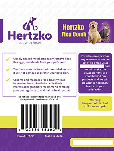 Hertzko Flea Comb By Closely Spaced Metal Pins Removes Fleas, Flea Eggs, And Debris From Your Pet's Coat - 10mm Metal Teeth Are Great For Short Hair Areas - Suitable For Dogs And Cats! by Hertzko (Image #6)