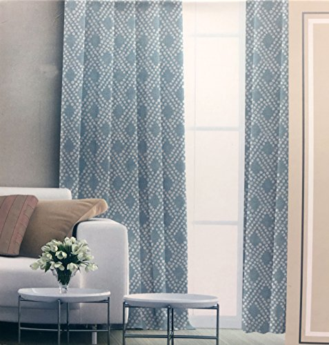 Raymond Waites Window Treatment Panels Draperies Curtains Cream/Light Yellow Dotted Geometric Pattern on Blue/Green Background - 42 Inches by 84 Inches