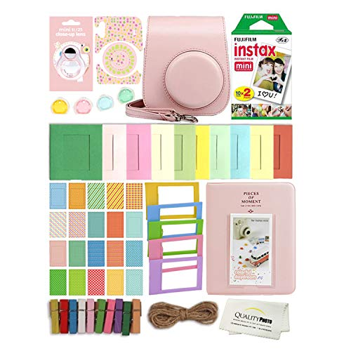 Fujifilm Instax Mini 11 Deluxe 8 in 1 Accessory Bundle Kit Case Album Stickers Frames and Quality Photo Microfiber Cloth (Blush Pink)