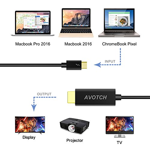 USB C to HDMI Cable,AVOTCH USB 3.1 Type C to HDMI Cable Thunderbolt 3 Compatible 4K 6FT with Aluminium Case for 2016 MacBook Pro, 2015 MacBook by AVOTCH (Image #1)