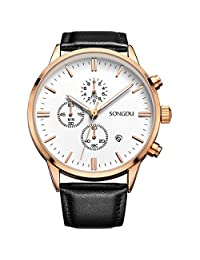 SONGDU Date Rose Gold Chronograph Mens Watches Online Stopwatch Hands Black Leather Strap