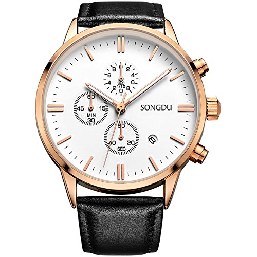 SONGDU Date Rose Gold Chronograph Mens Watches Online Stopwatch Luminous Hands Black Leather Strap