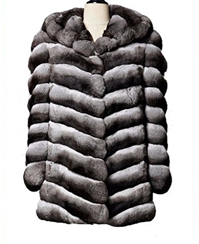 (Moda Furs Women's New Chinchilla Fur Coat Jacket With Hood)