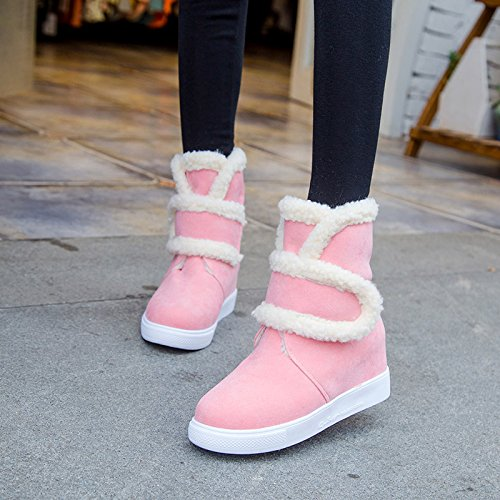 Carolbar Womens Warm Sweet Cute Lovely Comfort Hidden Heel Snow Boots Pink RKiKhTLG
