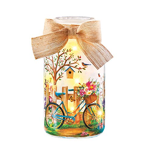 (Collections Etc Springtime Bike Scene Frosted Mason Jar Tabletop Lamp with Burlap Bow - Decorative Light for Any Room in Home )