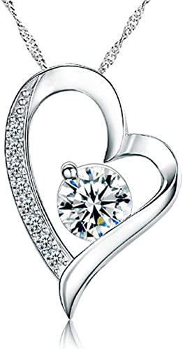 Floater Heart Pendant with Cubic Zirconia in Sterling Silver