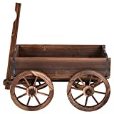 Wood wagon flower planter pot stand wheels home garden outdoor decor for rustic design and antique look you will complement your outdoor décor.