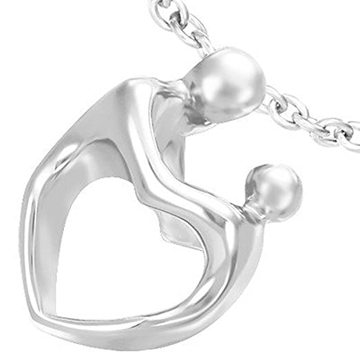 Amazon sculpted heart body mother and child pendant necklace sculpted heart body mother and child pendant necklace jewelry mother with baby design for aloadofball Image collections