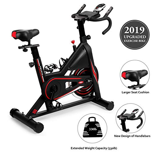 DMASUN Exercise Bike, Indoor Cycling Bike Stationary, Comfortable Seat Cushion, Multi – Grips Handlebar, 42Lbs Flywheel Upgraded Version (Black)