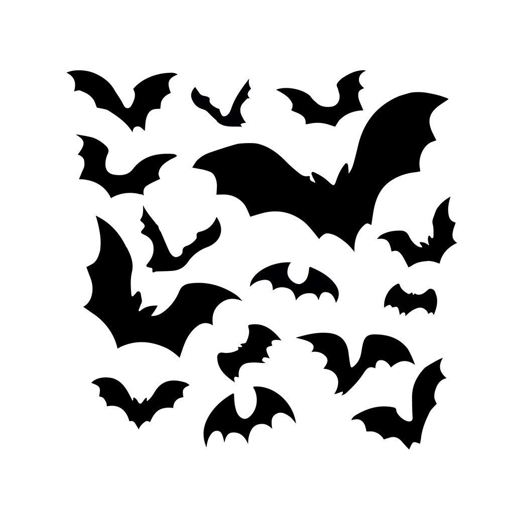 Happy Halloween Black Bat Self Adhesive Wall Removable Sticker, Removable DIY Art Wall Stickers Murals for Living Room TV Background Kids Girls Rooms Bedroom Decoration (Black, 43x44cm)