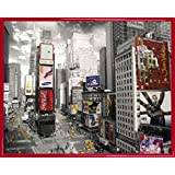 New York Mini Poster and Frame (Plastic) - Times Square, Yellow Cabs, Advertisements (20 x 16 inches)