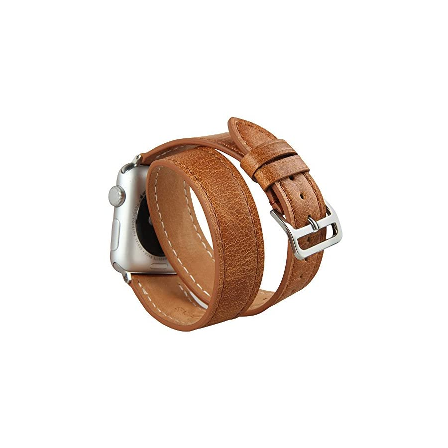 V Moro iWatch Band, Double Tour Leather Cuff Bracelet Watchband with Adapter for iWatch Series 4/3/2/1