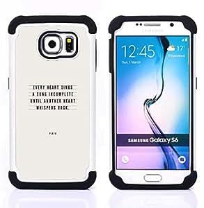 For Samsung Galaxy S6 G9200 - Plato love quote text inspirational Dual Layer caso de Shell HUELGA Impacto pata de cabra con im??genes gr??ficas Steam - Funny Shop -