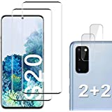 [2+2 Pack] Galaxy S20 Screen Protector Include 2 Pack Tempered Glass Screen Protector + 2 Pack Tempered Glass Camera Lens Pro