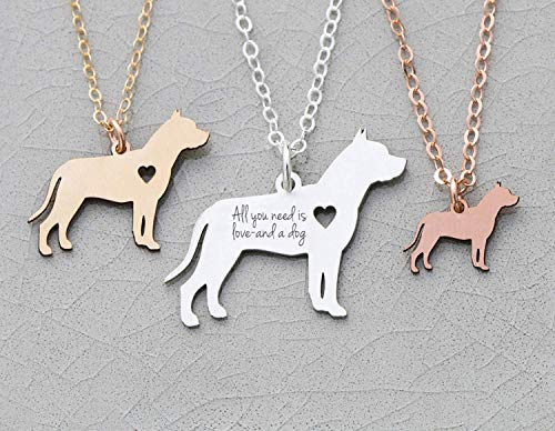 Pitbull Dog Necklace - IBD - Staffordshire - Personalize Name Date - Pendant Size Options - 935 Sterling Silver 14K Rose Gold Filled Charm
