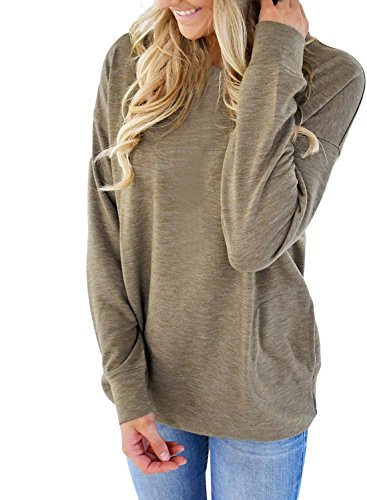 HOTAPEI Casual Round Neck Sweatshirt Loose Womens Tops Shirt for Women Long Sleeve Blouses Green XL from HOTAPEI